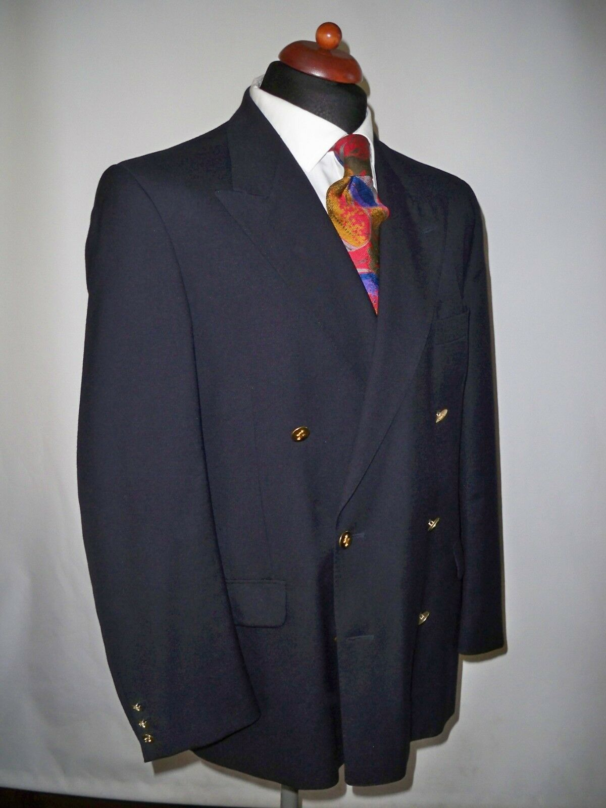 JAEGER NAVY PURE  WOOL BLAZER  SIZE  S  MADE IN ENGLAND