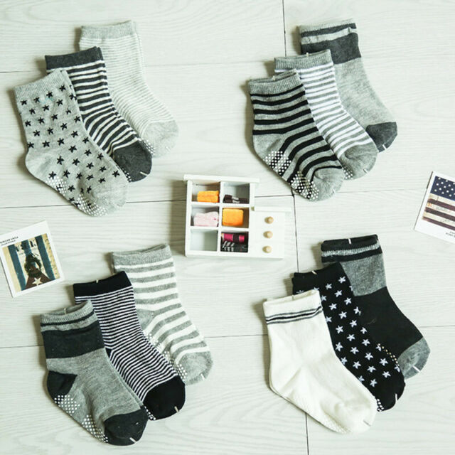 12 Pairs Baby Toddler Socks Boy Girl Non Skid Anti Slip Knit Ankle Grip Socks