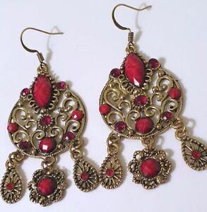 Red-Rhinestones-Bohemian-Chandelier-Antique-Bronze-Handmade-Earrings