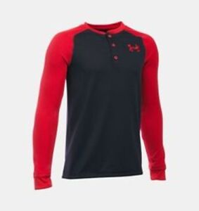 UNDER-ARMOUR-Boy-039-s-UA-Waffle-Henley-L-S-Shirt-BLACK-RED-4-5-6-7-NWT