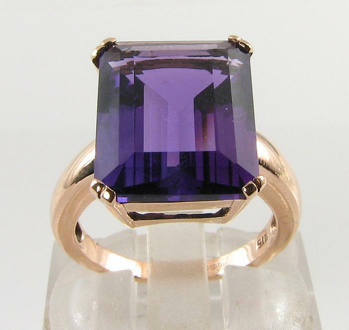 BIG 9K 9CT pink gold AMETHYST EMERALD CUT ART DECO INS SOLITAIRE RING FREE SIZE