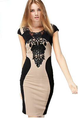 Women's Summer Fashion Sexy Lady Evening Cocktail Party Lace Short Sleeve Dress