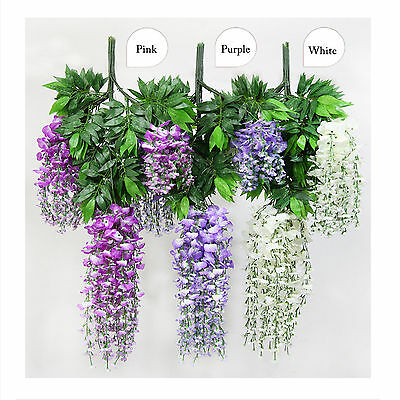6 or 12pc Artificial Silk Wisteria Leaf Hanging Flower Ivy Garland Vine Wedding
