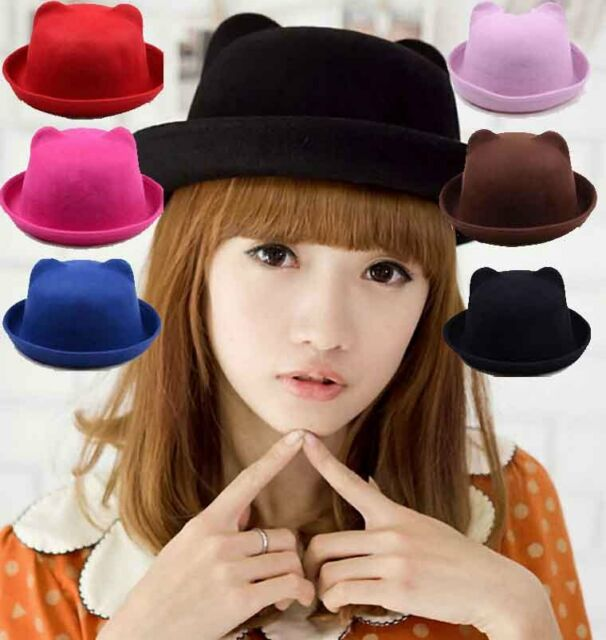 Cute Wool Cat Ear Soft Design Hat Derby Bowler Cap Unique Christmas Lady Gift