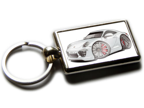 PORSCHE 911 CARRERA S Sports Car Koolart Chrome Keyring Picture Both Sides