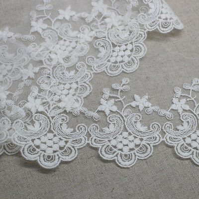 14Yds Broderie Anglaise mesh eyelet lace trim 8.5cm Ivory YH1429 laceking2013