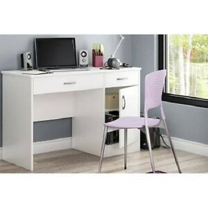 Home Office Work Desk Build Your Own Image Is Loading White2drawerworkdeskhomeofficestudy Ebay White 2drawer Work Desk Home Office Study Living Storage Furniture