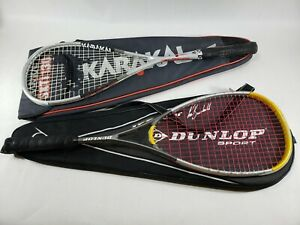 Squash-Rackets-set-of-2-Dunlop-I-zone-Graphite-Karakal-SXTi-130-with-cases