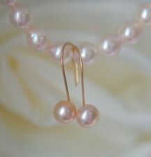 6,5mm Rose Spiegelglanz Perlen Ohrringe Gold Filled Pink cultured Pearl Earrings
