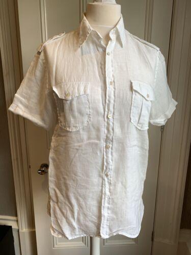 Ted Baker Mens Linen Short Sleeve White Shirt Size 4 Medium