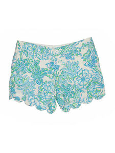 Women-Lilly-Pulitzer-Northeast-Hahbah-Blue-Green-Crab-Buttercup-Shorts-Size-6