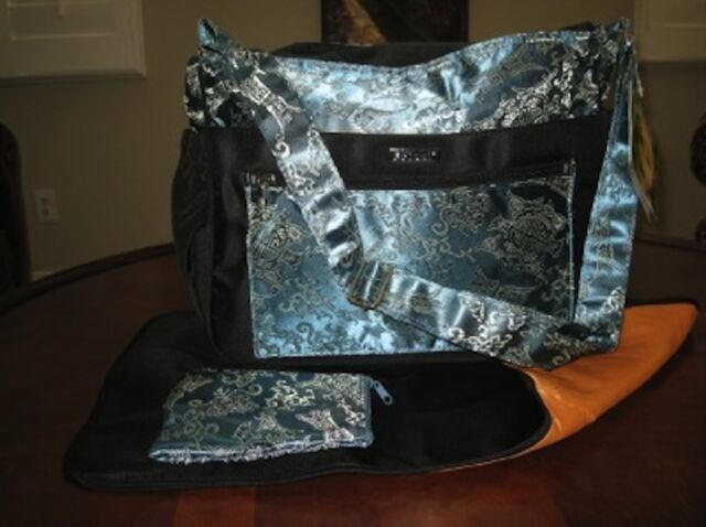 Asian Brocade Kecci Voyager Steel Blue Black New Diaper Bag 3pc Set Baby Shower