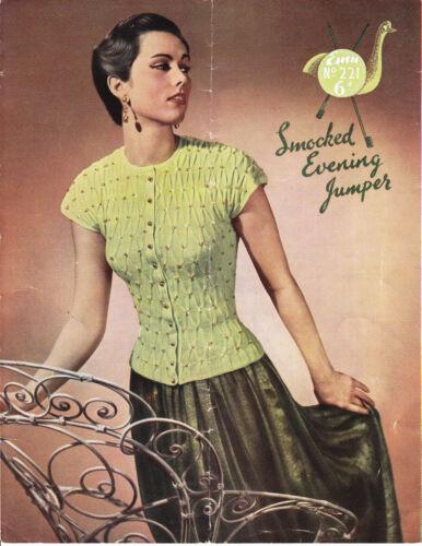 Vintage 1950/'s Tejer patrón SMOCKED Noche Jumper
