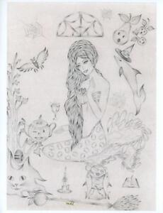 MERMAID HALLOWEEN AUTUMN HARVEST CAT BAT COBWEBS HAND SIGNED ART PRINT