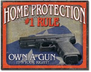 Home-Protection-Metal-Tim-Sign-1-Rule-Own-A-Gun-Garage-Man-Cave-Home-Decor-New