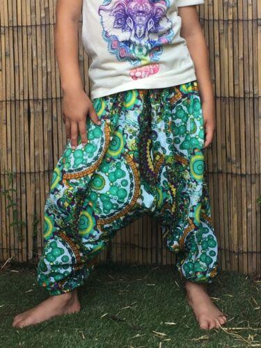 Childrens kids girls boys harem pants baggy hippie hippy boho trousers 1-7 years