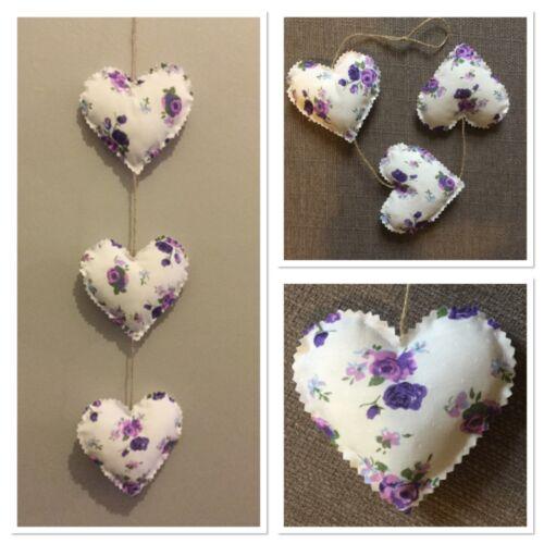Handmade vertical fabric hanging love hearts purple rose shabby chic 3x8cm