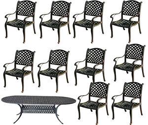 Patio dining set 11pc outdoor cast aluminum garden furniture Nassau table chairs
