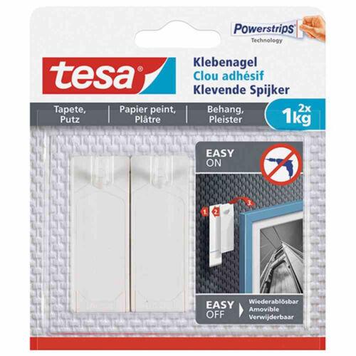 1 kg tesa 77773 Powerstrips Klebenagel für Tapeten /& Putz weiß 2er Pack