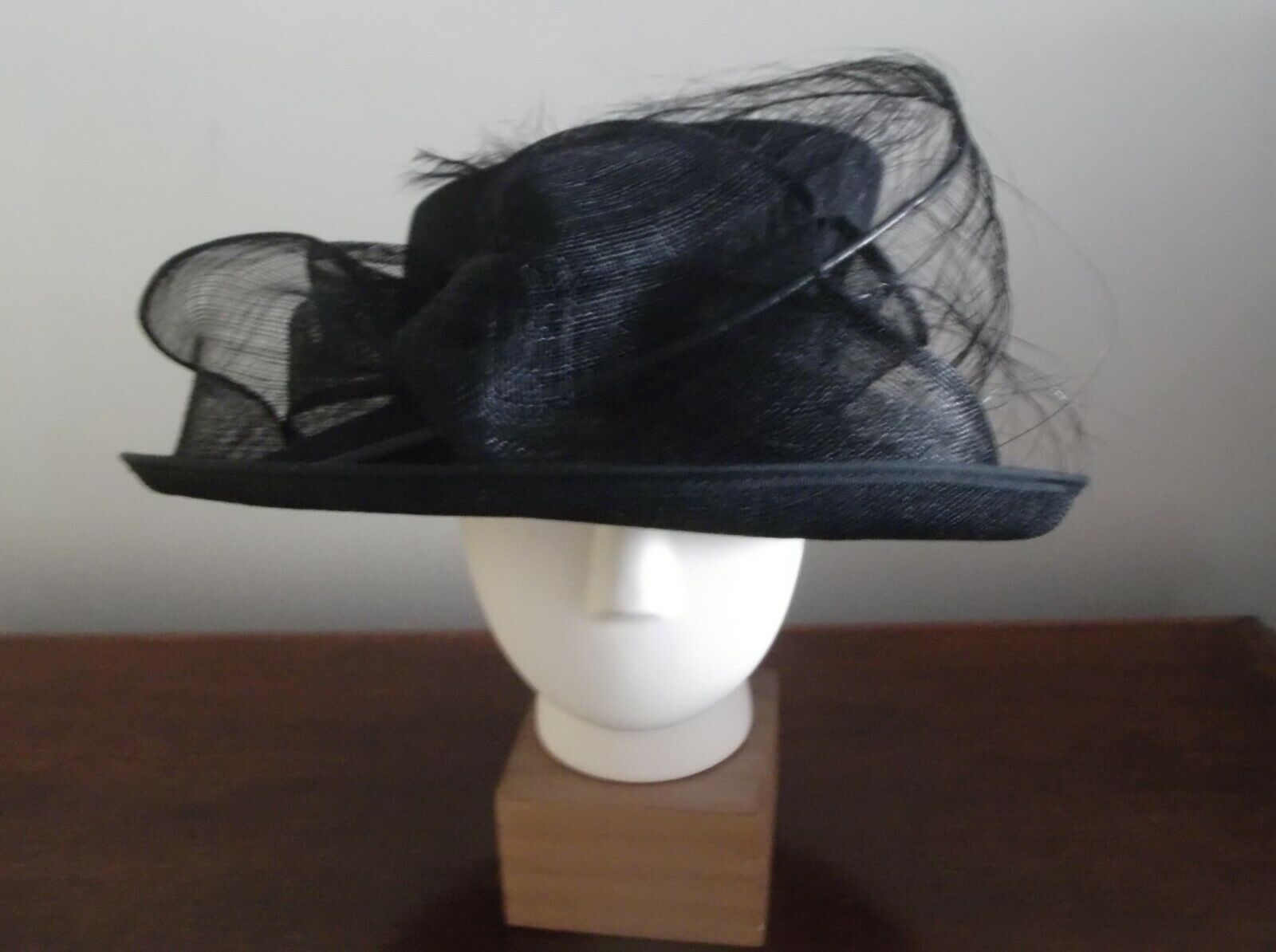 Hatmosphere collection Black Hat Wedding Ascot Mother of Bride feathers Sinamay
