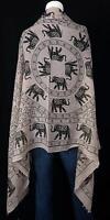 Elegant Elephant Print Summer Fashion Scarf Frayed Edges 34 X 70 Taupe