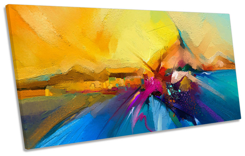 Gelb Sunset Abstract PANORAMIC CANVAS Wand KunstWORK Drucken Kunst