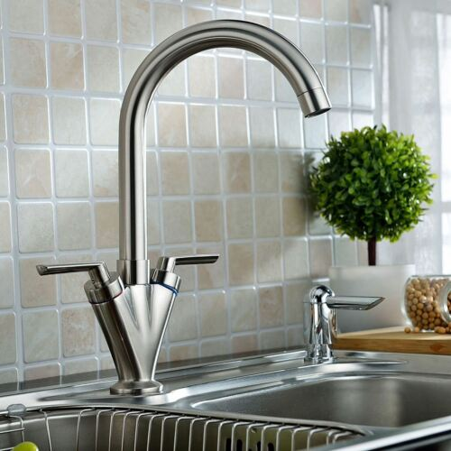 FUSION Brushed Nickel Swivel Kitchen Sink Mono Mixer Tap