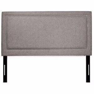 Upholstered Tufted nail head button Headboard Queen Modern fabric linen Bedroom