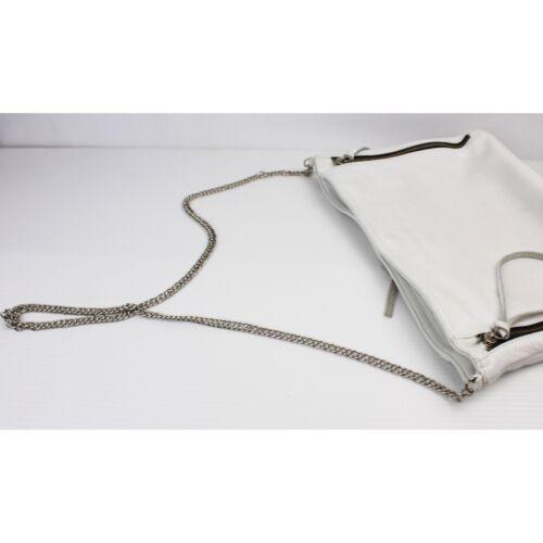 POSSE White Soft Leather Zipper Chain Bag