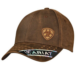 7cc65610ed6 Ariat Mens Hat Baseball Cap Barbed Wire Oilskin Offset Logo Brown ...