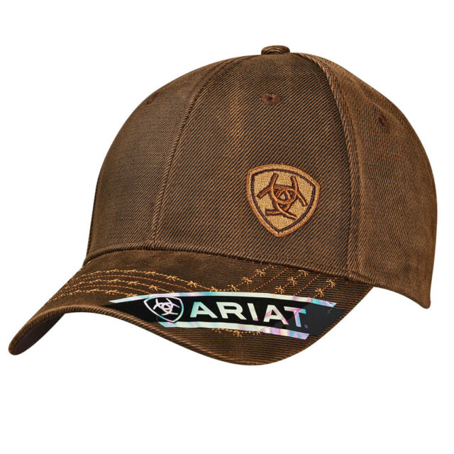 9c14046fc95f18 Ariat Mens Hat Baseball Cap Barbed Wire Oilskin Offset Logo Brown 1518002