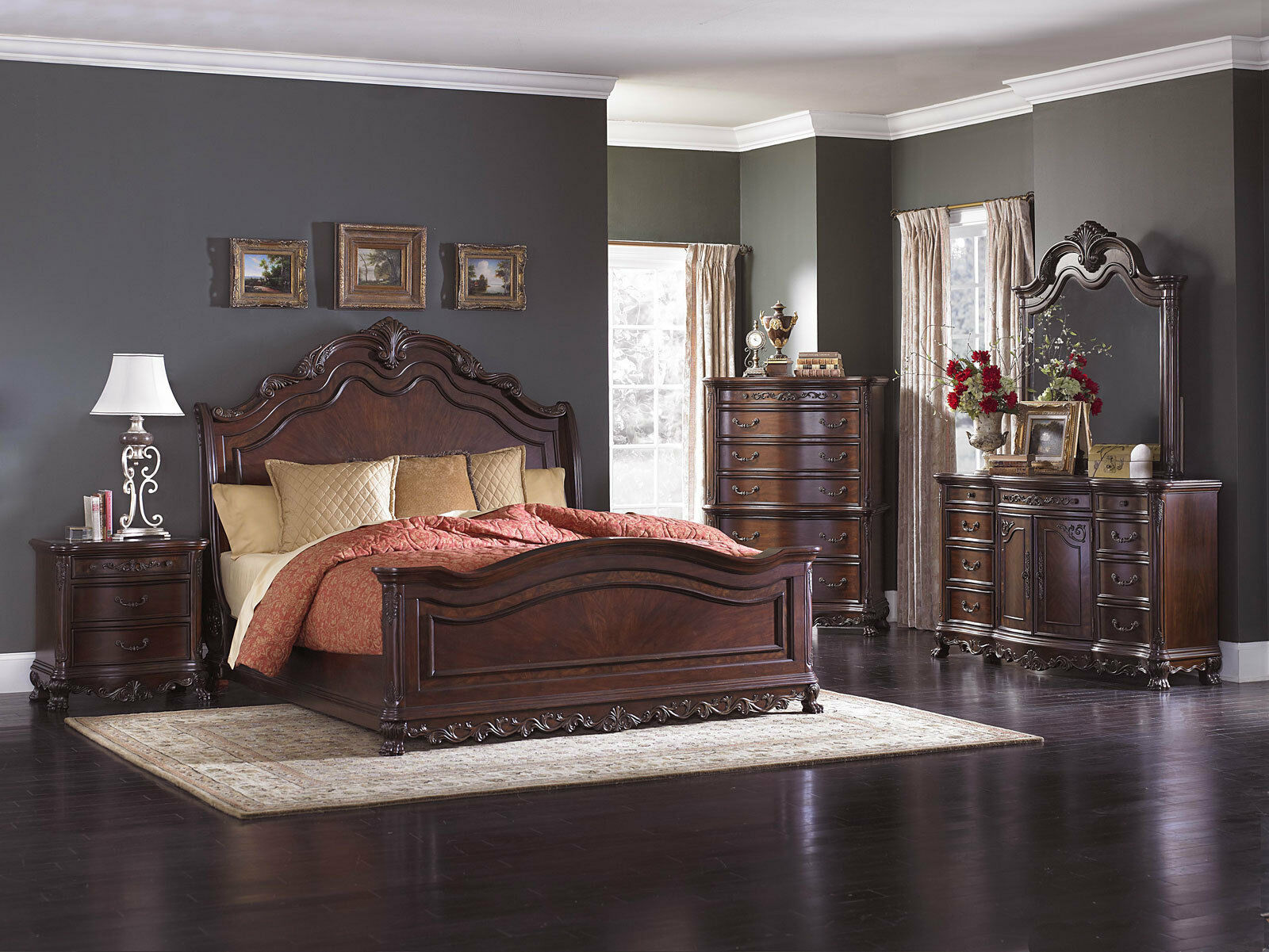 traditional cherry brown 5pcs bedroom set furniture w king size sleigh bed ia5f
