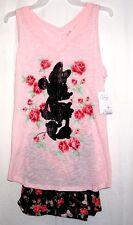 Disney Minnie Floral Pink Black Tank Boxer Pajama Sleepwear Set 8-10 NWT