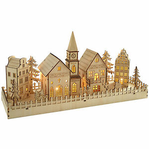 Pre-Lit-Wooden-Village-Scene-Table-Window-Christmas-Decoration-LED-Lights-45cm