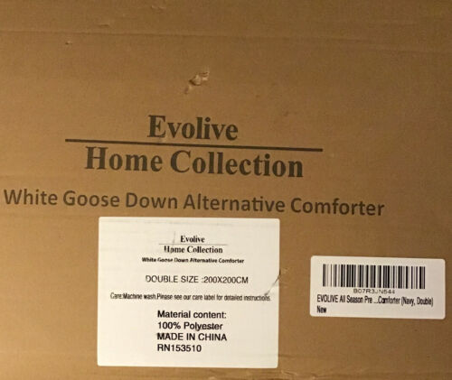 Evolive All Season White Goose Down Alternative Comforter Navy.Brand New Boxed.