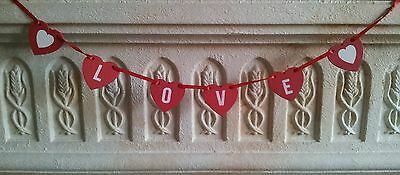 Amore Cuore Garland Bunting In Legno Rosso Regalo D'amore Cuori San Valentino-mostra Il Titolo Originale