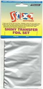 10-SHEETS-TRANSFER-FOILS-SHINY-METALLIC-SILVER-CARDMAKING-HOBBY-STIX2-S57112