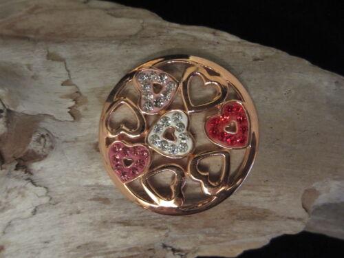 Original Sterlina mi Milano 24mm Crystal Corazones coin//moneda 4 pendant//keeper ajmm
