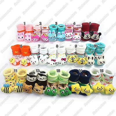 Newborn Baby Anti Slip Socks - Cute Kids Infant Boy Girl Warm Shoes 0-24mth -NEW