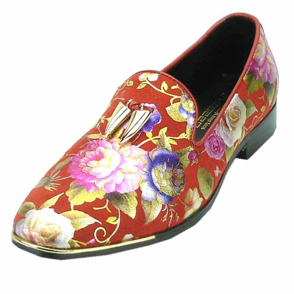 Fiesso Mens rosso  Floral Pattern oro Tassel Tassel Format Slip on Loafer Fun scarpe  nuovo sadico