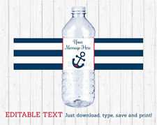 Nautical Anchor Navy Blue & Red Water Bottle Labels Printable Editable PDF
