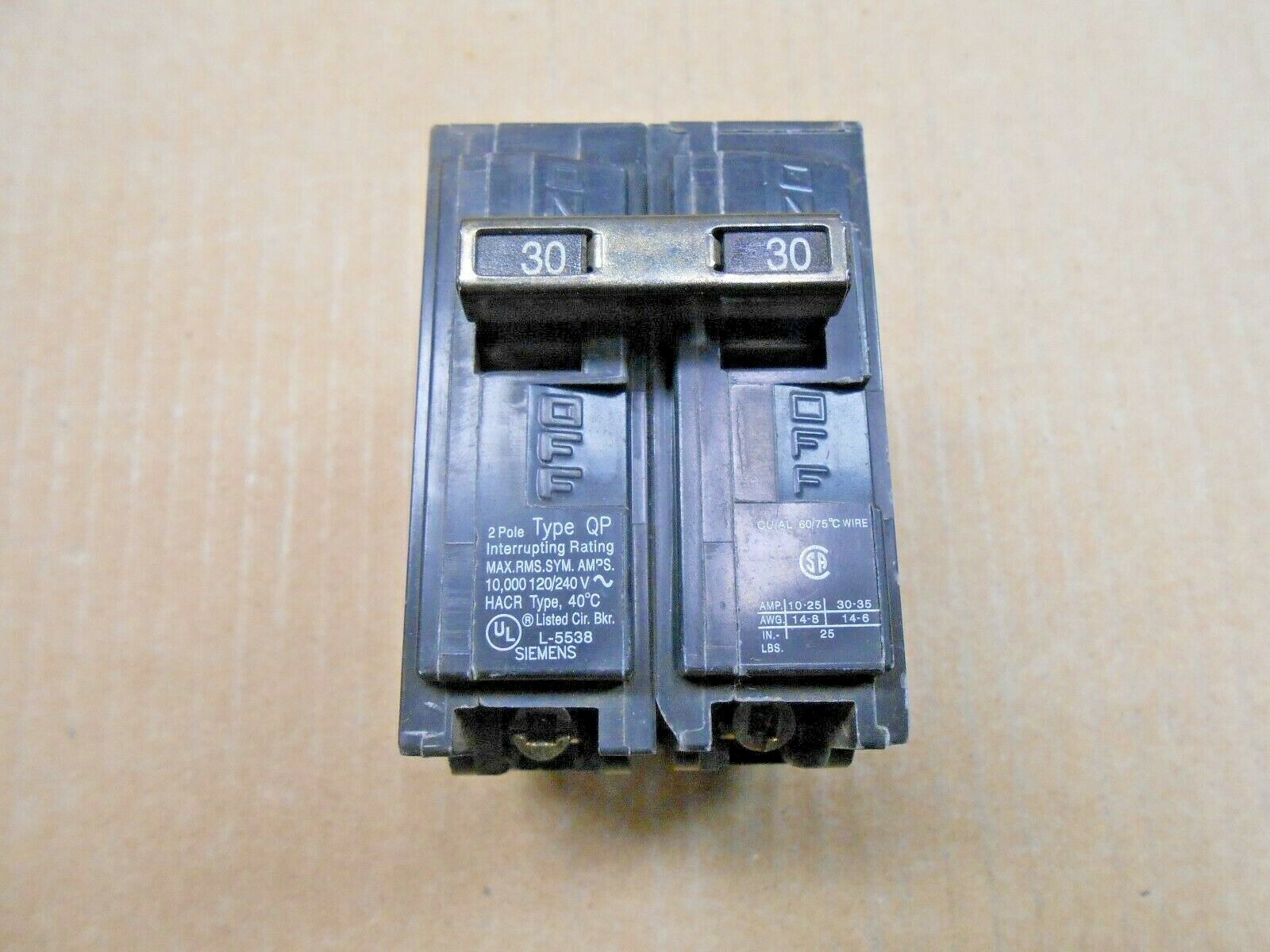 NEW 1 Siemens Q230 30A 2 Pole 120V // 240V Circuit Breaker Type QP
