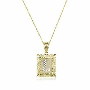 image is loading 10k solid yellow gold initial letter necklace pendant