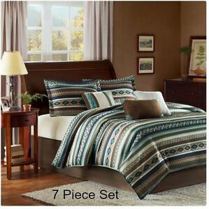 Image Is Loading Queen Comforter Set Southwest Aztec 7pc Blue Brown