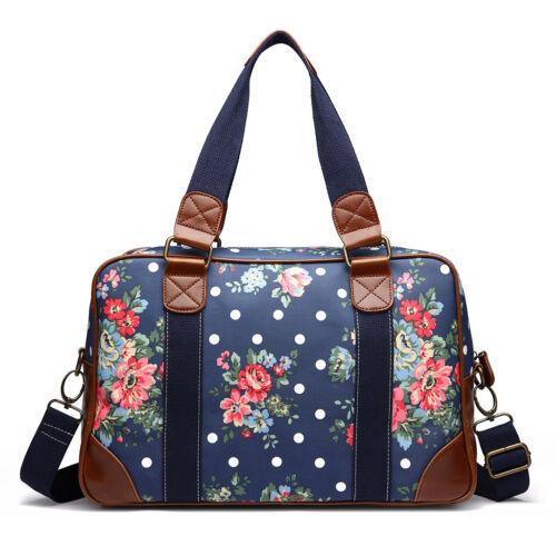 Ladies Women Floral Polka Dot Print Oilcloth Handbag Crossbody Shoulder Bag
