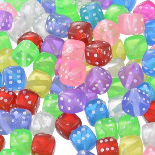 100 Mixte Acrylique Transparent dés Spacer Beads 9x9mm