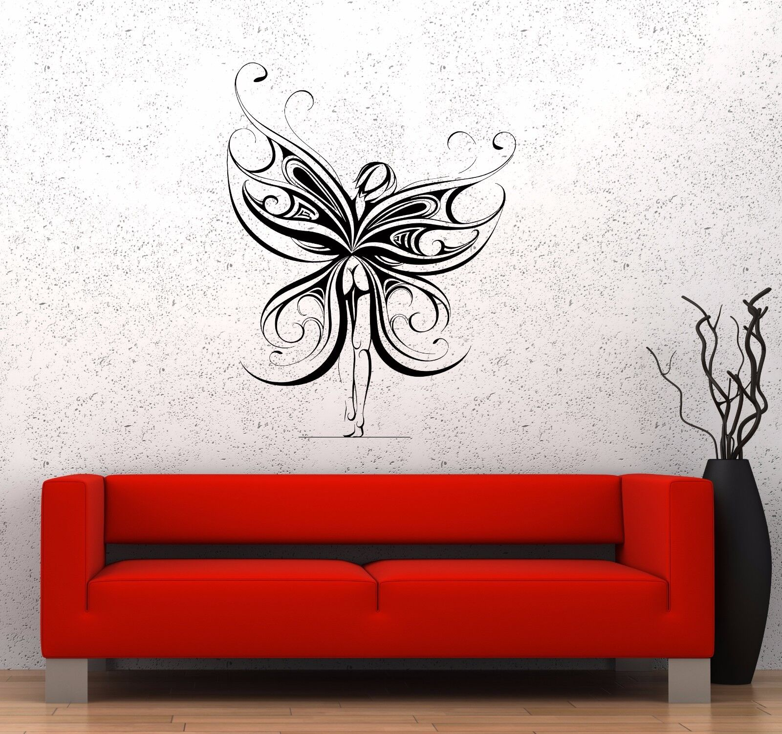 Wall Decal Naked Girl Butterfly Nature Fantasy Fairy Tale Vinyl Sticker (ed748)