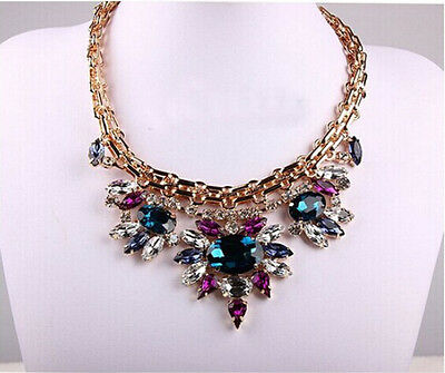 Fashion Party Bright Rhinestone Crystal Flower Chunky Statement Collar Necklace