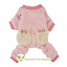 "Fitwarm 12""Chest Warm Pet Clothes Jumpsuit XSmall Dog Pajamas Pink Winter Coat"