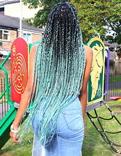 Black Mint Green Ombre Jumbo Braiding Hair Catface Hair